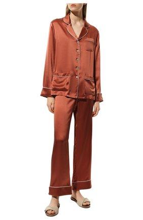 Женская шелковая пижама OLIVIA VON HALLE оранжевого цвета, арт. SS2112 | Фото 2