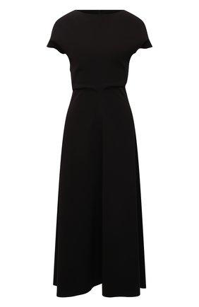 Женское платье LOW CLASSIC черного цвета, арт. L0W21SS_DR04BK   Фото 1 (Рукава: Короткие; Случай: Повседневный; Материал внешний: Синтетический материал; Длина Ж (юбки, платья, шорты): Миди; Женское Кросс-КТ: Платье-одежда; Стили: Кэжуэл)
