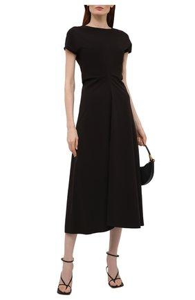 Женское платье LOW CLASSIC черного цвета, арт. L0W21SS_DR04BK   Фото 2 (Рукава: Короткие; Случай: Повседневный; Материал внешний: Синтетический материал; Длина Ж (юбки, платья, шорты): Миди; Женское Кросс-КТ: Платье-одежда; Стили: Кэжуэл)