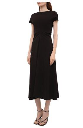 Женское платье LOW CLASSIC черного цвета, арт. L0W21SS_DR04BK   Фото 3 (Рукава: Короткие; Случай: Повседневный; Материал внешний: Синтетический материал; Длина Ж (юбки, платья, шорты): Миди; Женское Кросс-КТ: Платье-одежда; Стили: Кэжуэл)