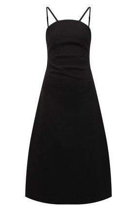 Женское хлопковое платье LOW CLASSIC черного цвета, арт. L0W21SS_DR06BK   Фото 1 (Длина Ж (юбки, платья, шорты): Миди; Материал внешний: Хлопок; Стили: Кэжуэл; Случай: Повседневный; Женское Кросс-КТ: Платье-одежда)