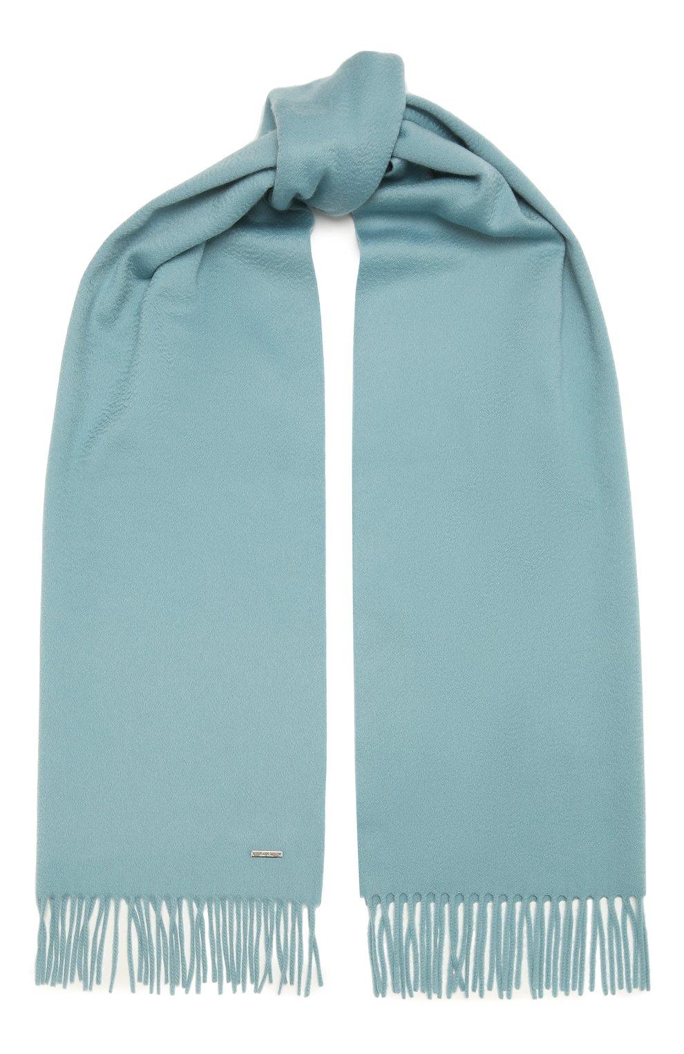 Женский кашемировый шарф grande unita LORO PIANA голубого цвета, арт. FAA1056 | Фото 1 (Материал: Кашемир, Шерсть)