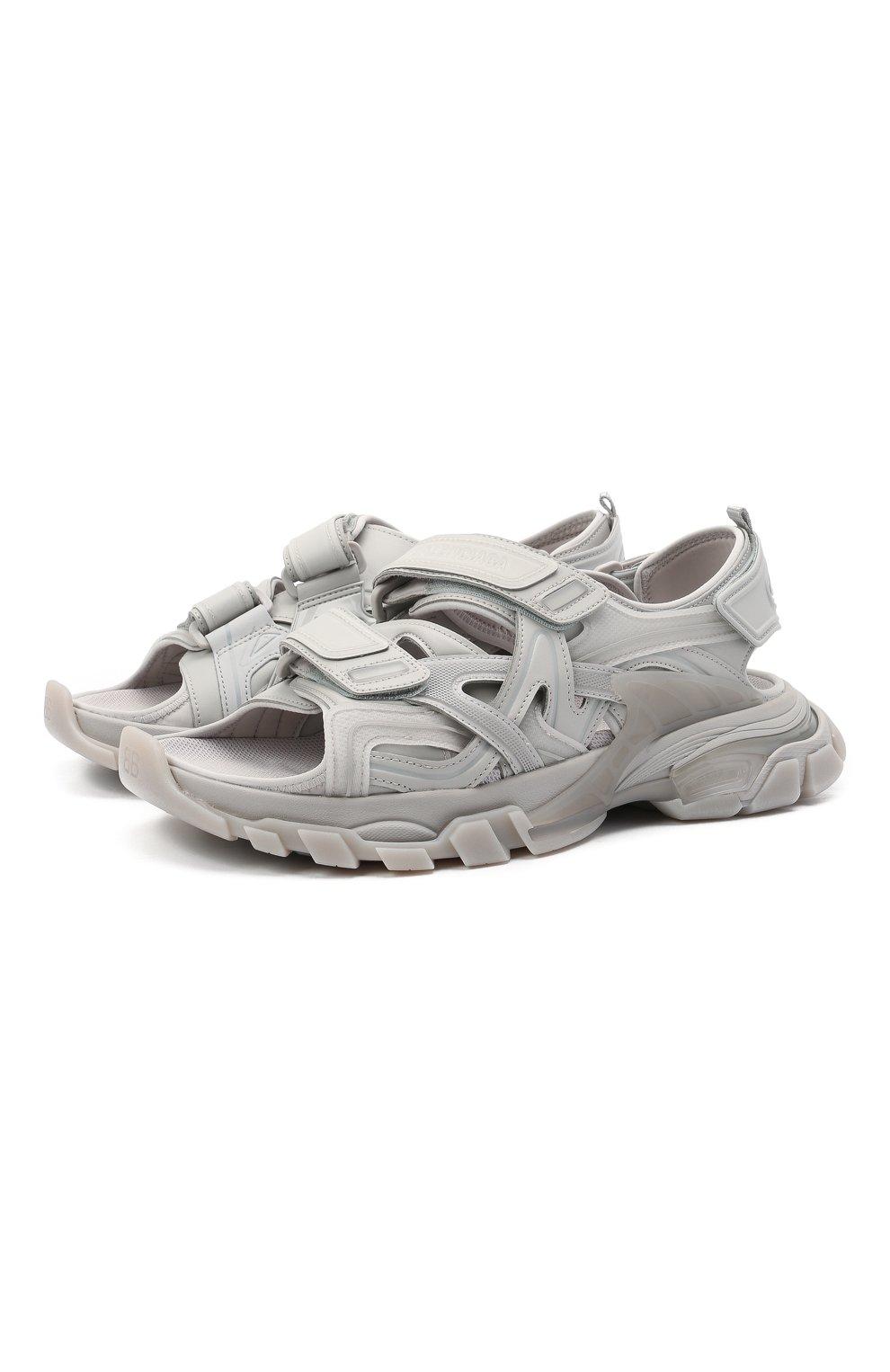 Мужские комбинированные сандалии track BALENCIAGA серого цвета, арт. 655954/W2CC2 | Фото 1 (Материал внешний: Текстиль; Материал внутренний: Текстиль)