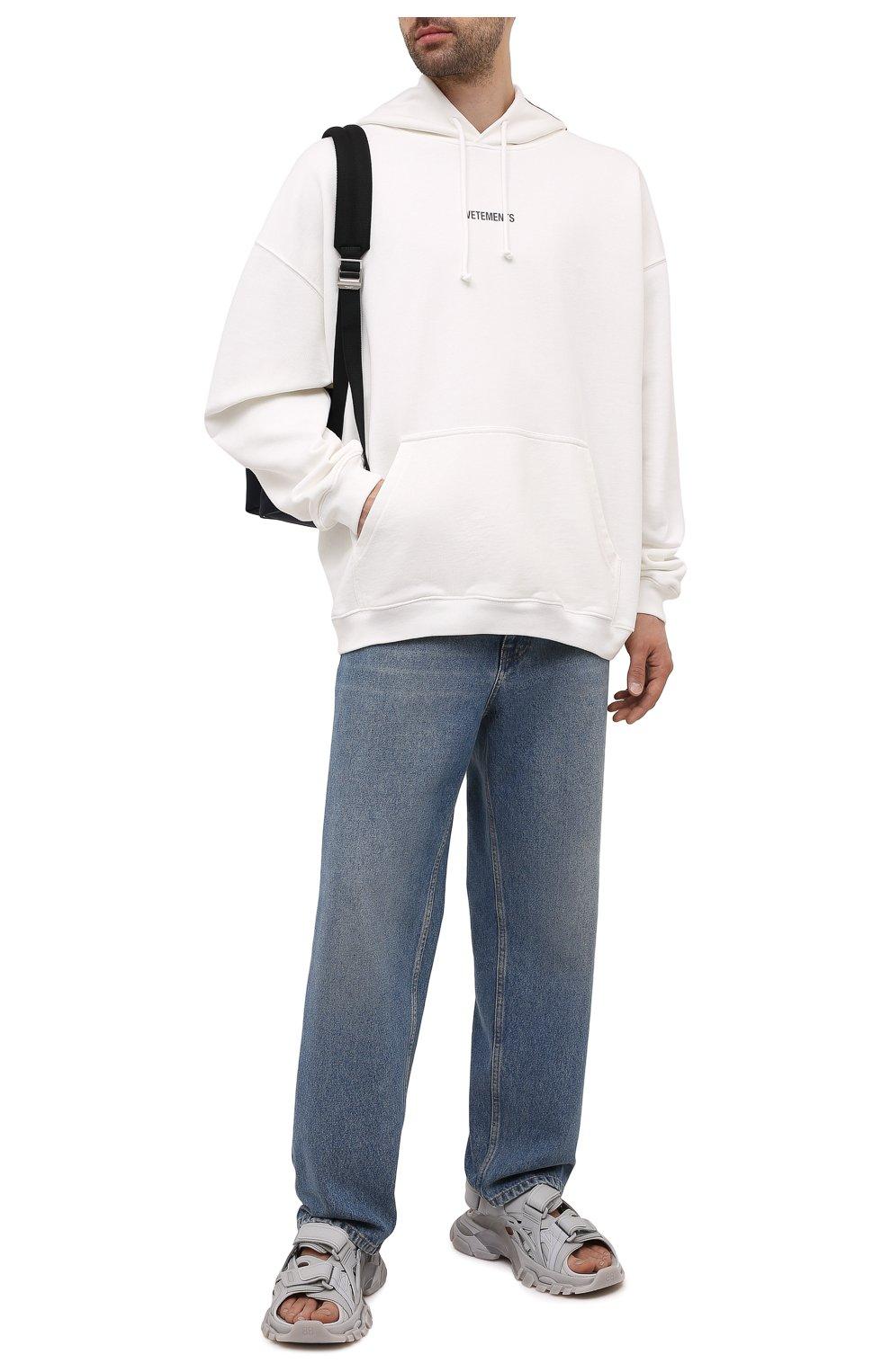 Мужские комбинированные сандалии track BALENCIAGA серого цвета, арт. 655954/W2CC2 | Фото 2 (Материал внешний: Текстиль; Материал внутренний: Текстиль)