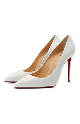 Женские кожаные туфли kate 100 CHRISTIAN LOUBOUTIN белого цвета, арт. 3190048/KATE 100   Фото 1 (Материал внутренний: Натуральная кожа; Подошва: Плоская; Каблук тип: Шпилька; Каблук высота: Высокий)