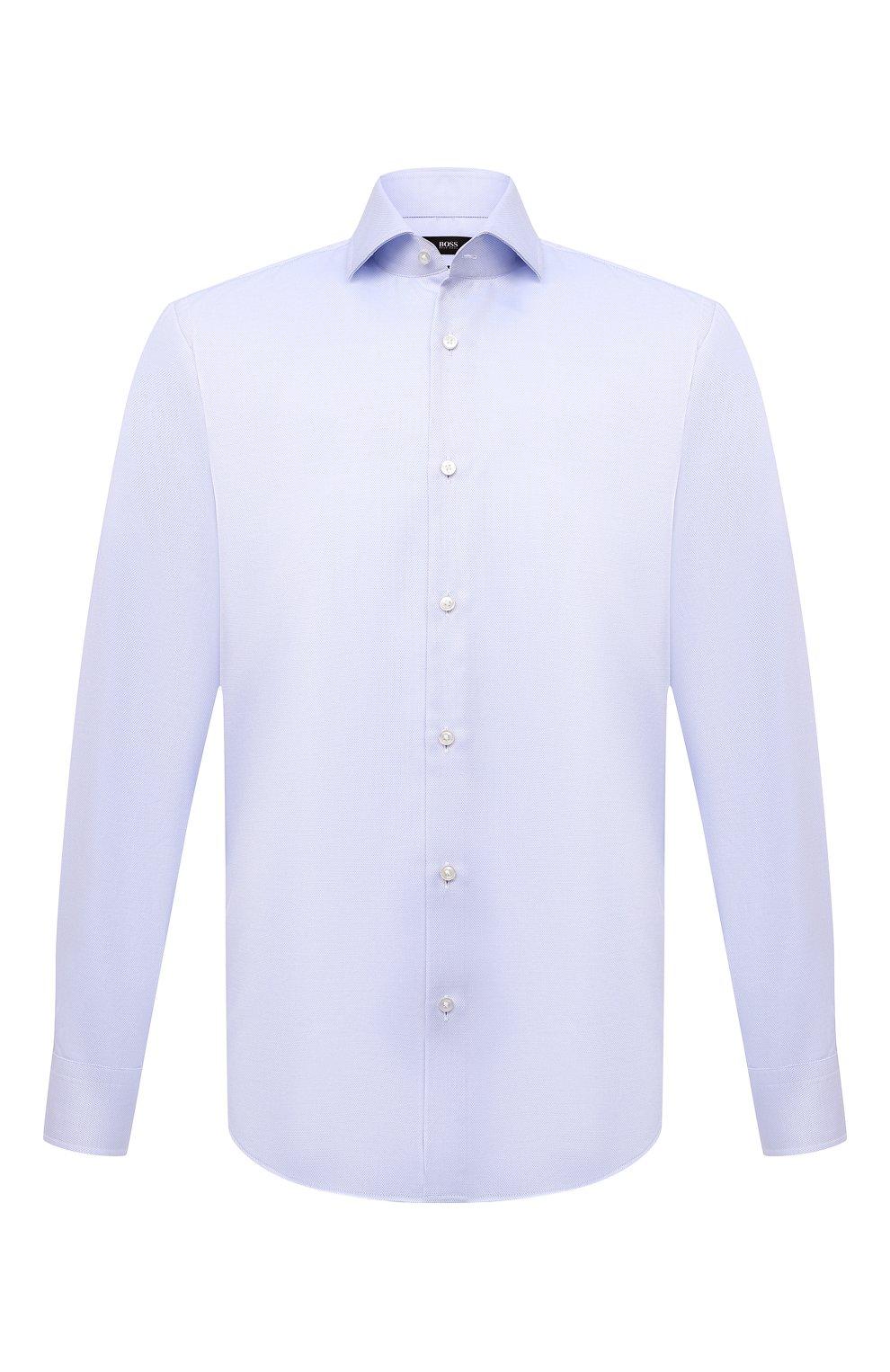 Мужская хлопковая сорочка BOSS голубого цвета, арт. 50451172 | Фото 1