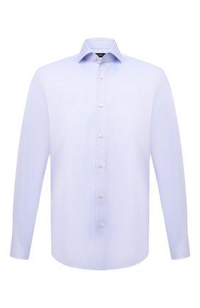 Мужская хлопковая сорочка BOSS голубого цвета, арт. 50451172 | Фото 1 (Длина (для топов): Стандартные; Материал внешний: Хлопок; Случай: Формальный; Рубашки М: Regular Fit; Рукава: Длинные; Принт: Однотонные; Манжеты: На пуговицах; Воротник: Акула)