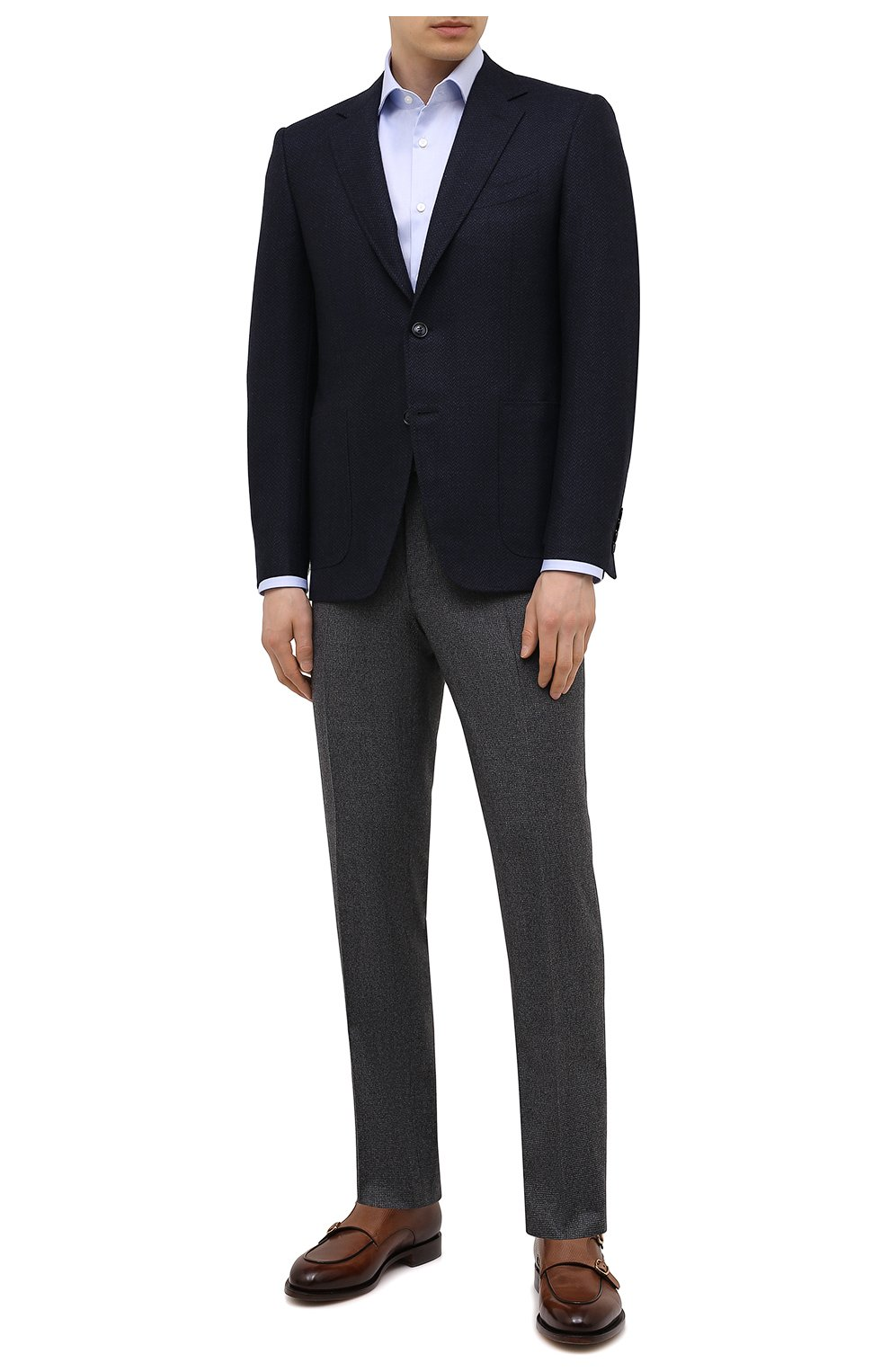 Мужская хлопковая сорочка BOSS голубого цвета, арт. 50451172 | Фото 2