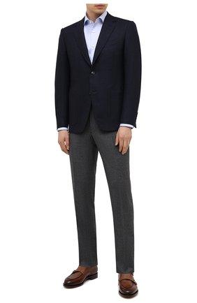 Мужская хлопковая сорочка BOSS голубого цвета, арт. 50451172 | Фото 2 (Длина (для топов): Стандартные; Материал внешний: Хлопок; Случай: Формальный; Рубашки М: Regular Fit; Рукава: Длинные; Принт: Однотонные; Манжеты: На пуговицах; Воротник: Акула)