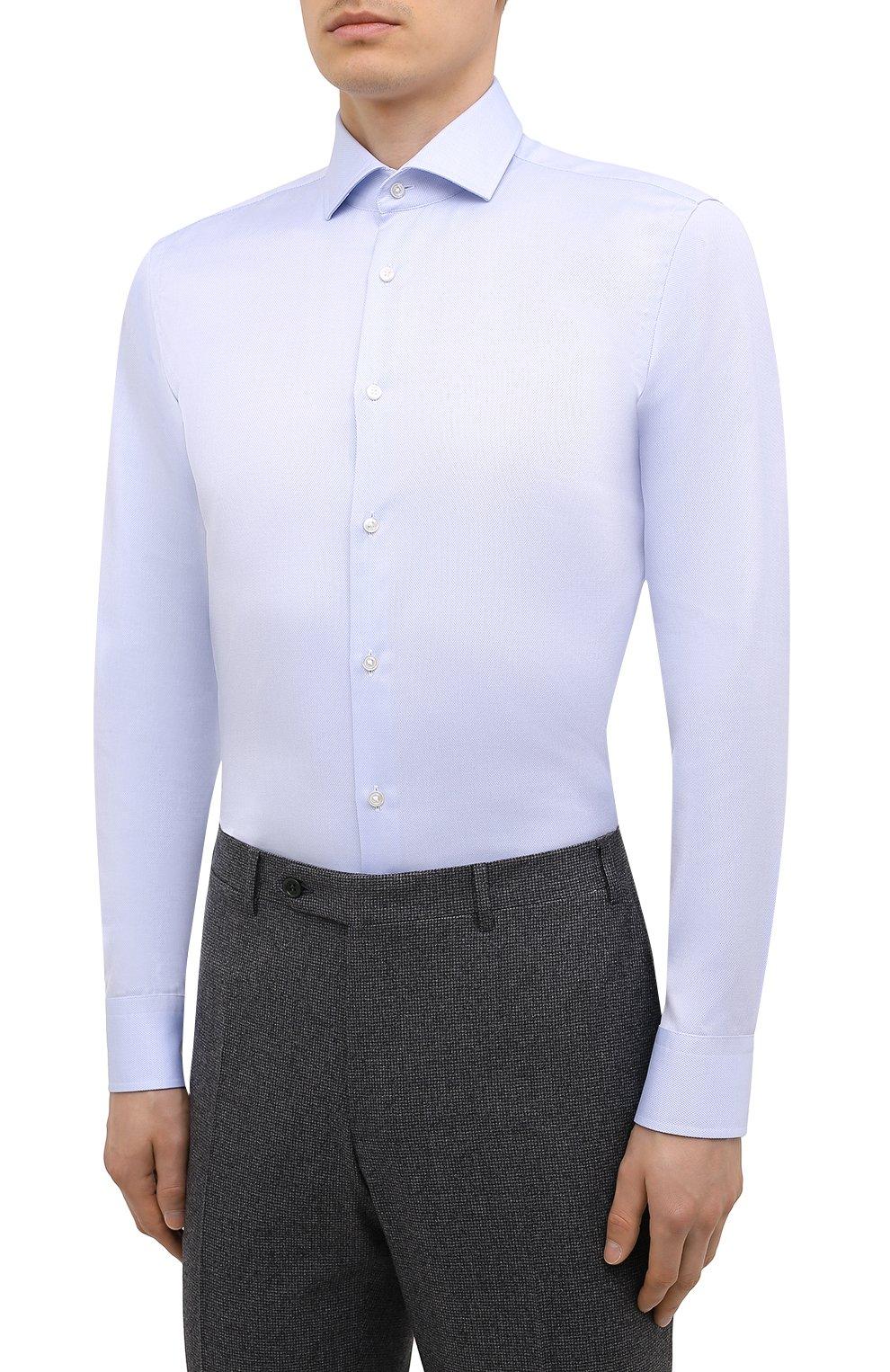 Мужская хлопковая сорочка BOSS голубого цвета, арт. 50451172 | Фото 3