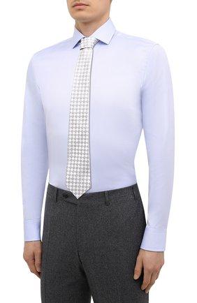 Мужская хлопковая сорочка BOSS голубого цвета, арт. 50451172 | Фото 4