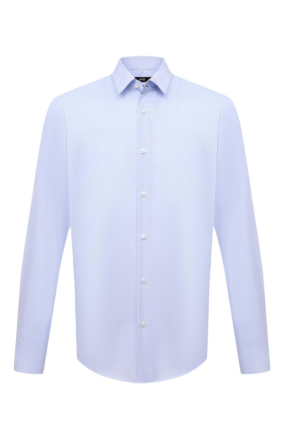 Мужская хлопковая сорочка BOSS голубого цвета, арт. 50449750   Фото 1