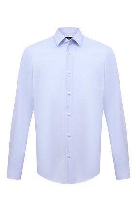 Мужская хлопковая сорочка BOSS голубого цвета, арт. 50449750 | Фото 1 (Рукава: Длинные; Длина (для топов): Стандартные; Материал внешний: Хлопок; Случай: Формальный; Рубашки М: Regular Fit; Воротник: Кент)