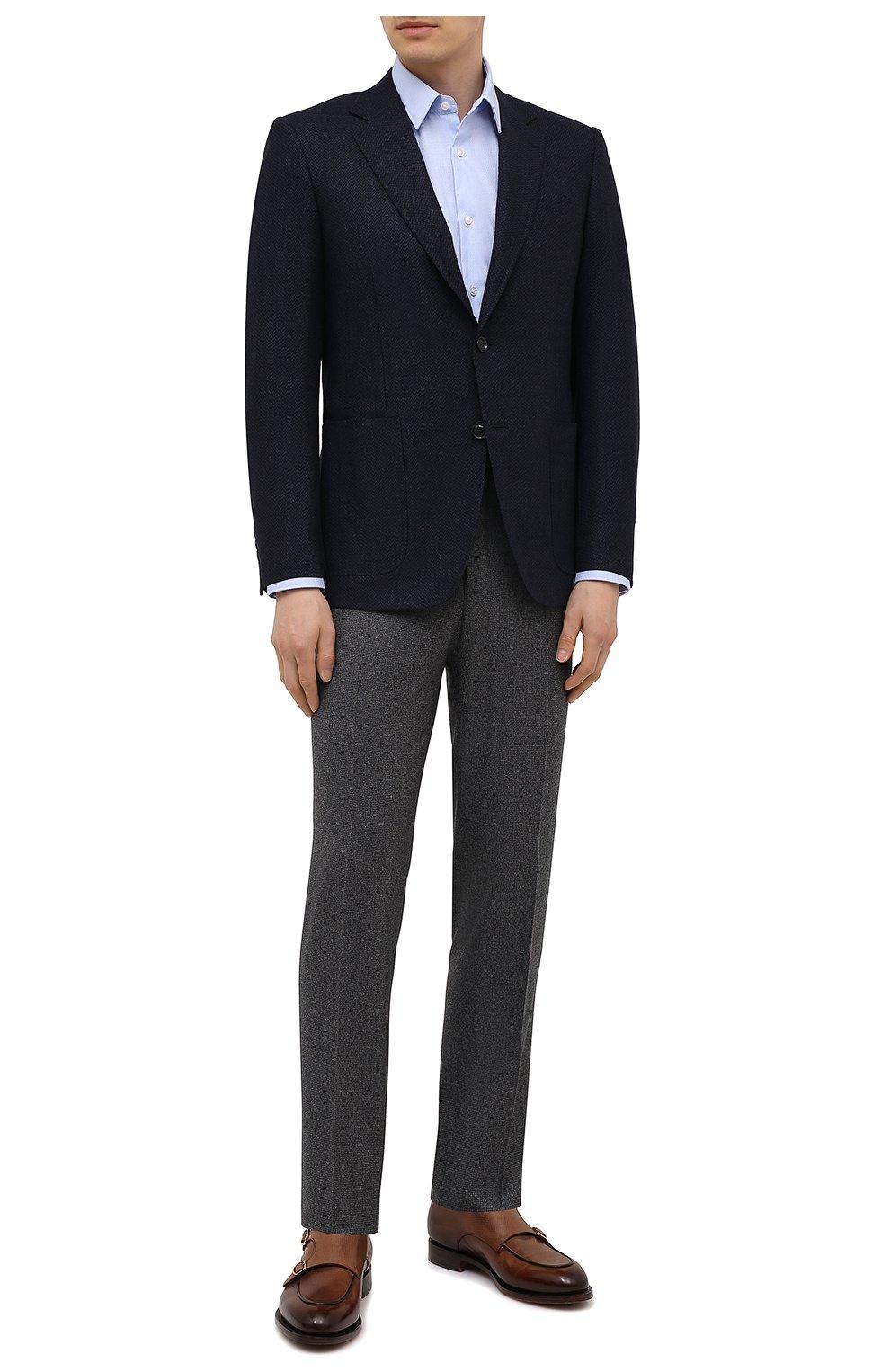 Мужская хлопковая сорочка BOSS голубого цвета, арт. 50449750   Фото 2