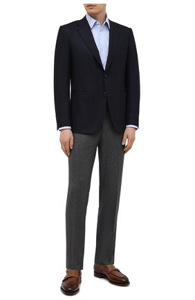 Мужская хлопковая сорочка BOSS голубого цвета, арт. 50449750 | Фото 2 (Рукава: Длинные; Длина (для топов): Стандартные; Материал внешний: Хлопок; Случай: Формальный; Рубашки М: Regular Fit; Воротник: Кент)