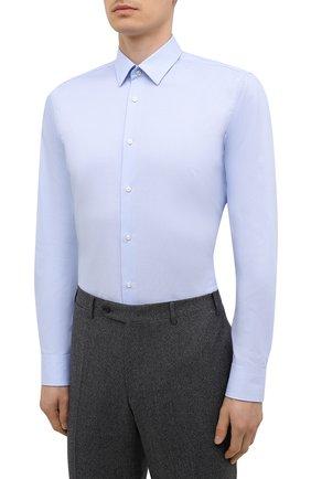 Мужская хлопковая сорочка BOSS голубого цвета, арт. 50449750   Фото 3