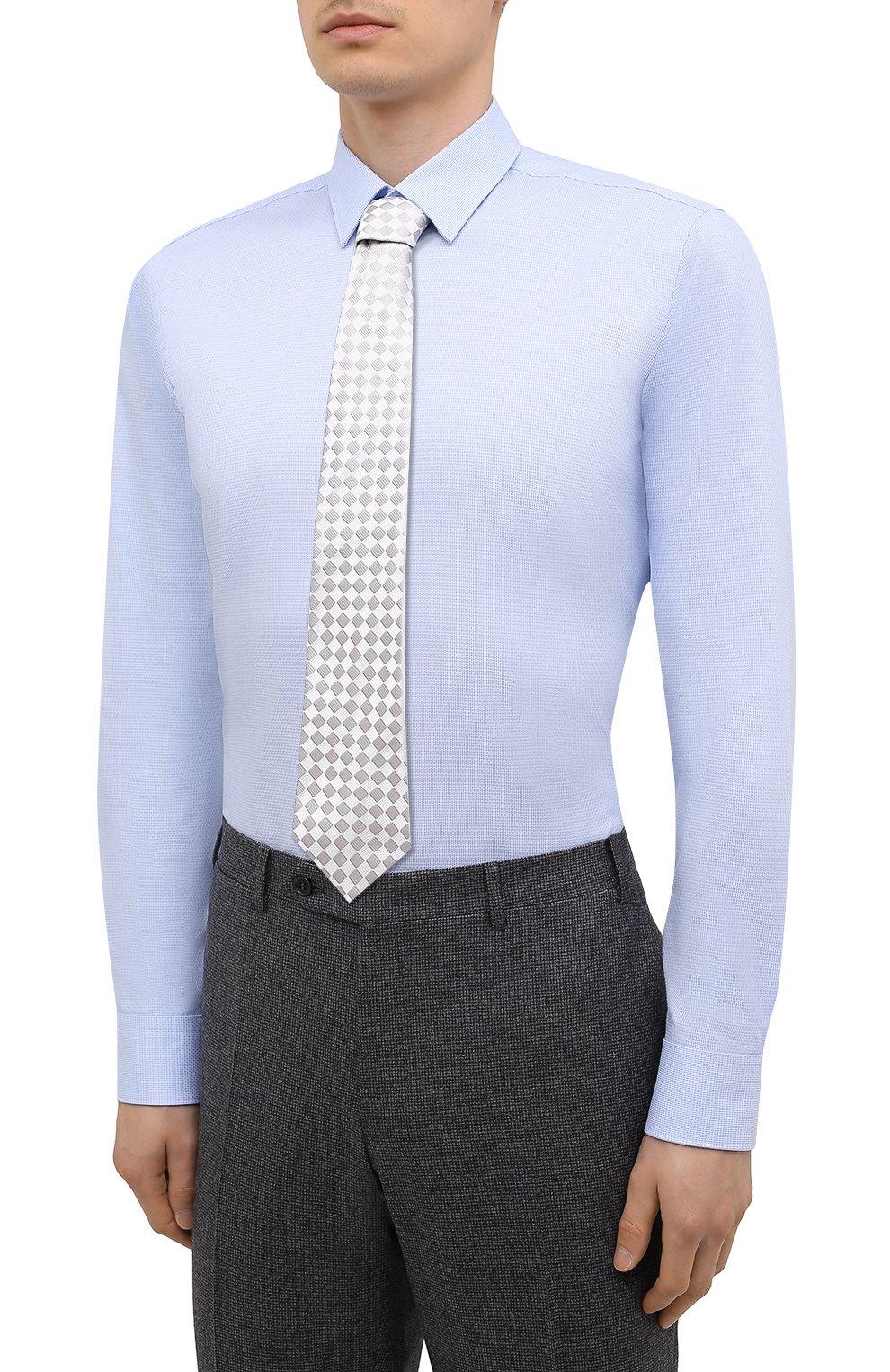 Мужская хлопковая сорочка BOSS голубого цвета, арт. 50449750   Фото 4