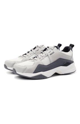 Мужские комбинированные кроссовки HUGO серого цвета, арт. 50451940 | Фото 1 (Материал внешний: Текстиль; Подошва: Массивная)