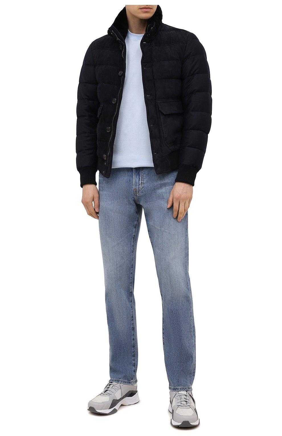 Мужские комбинированные кроссовки HUGO серого цвета, арт. 50451940 | Фото 2 (Материал внешний: Текстиль; Подошва: Массивная)