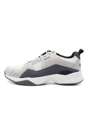 Мужские комбинированные кроссовки HUGO серого цвета, арт. 50451940 | Фото 3 (Материал внешний: Текстиль; Подошва: Массивная)