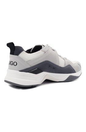 Мужские комбинированные кроссовки HUGO серого цвета, арт. 50451940 | Фото 4 (Материал внешний: Текстиль; Подошва: Массивная)