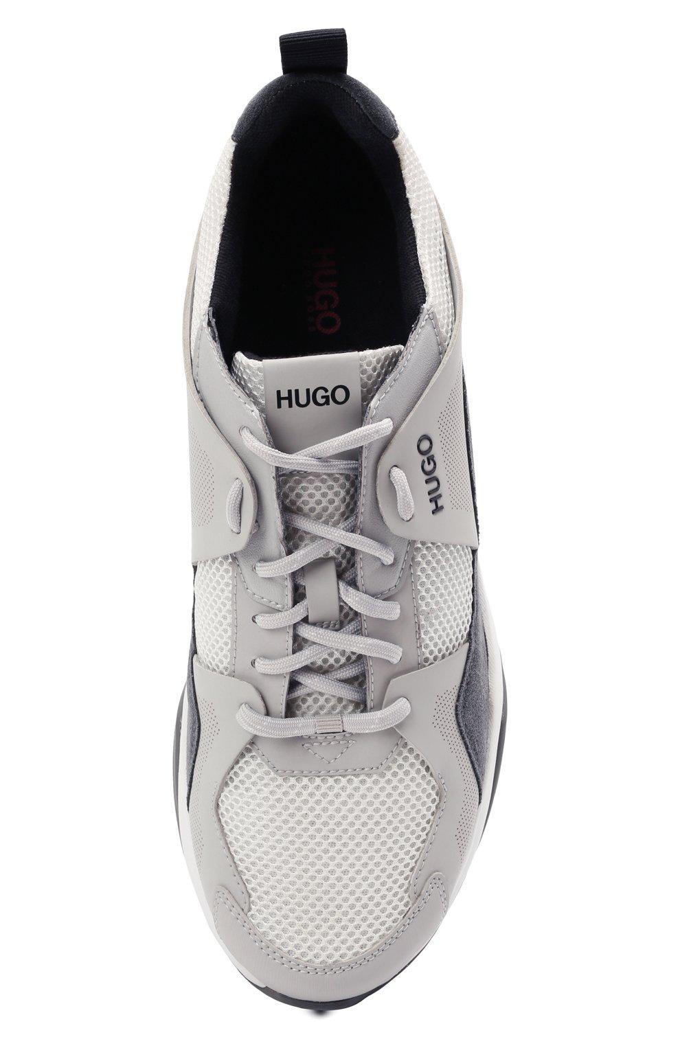 Мужские комбинированные кроссовки HUGO серого цвета, арт. 50451940 | Фото 5 (Материал внешний: Текстиль; Подошва: Массивная)