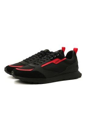 Мужские комбинированные кроссовки HUGO черного цвета, арт. 50451740 | Фото 1 (Материал внешний: Текстиль; Подошва: Массивная)