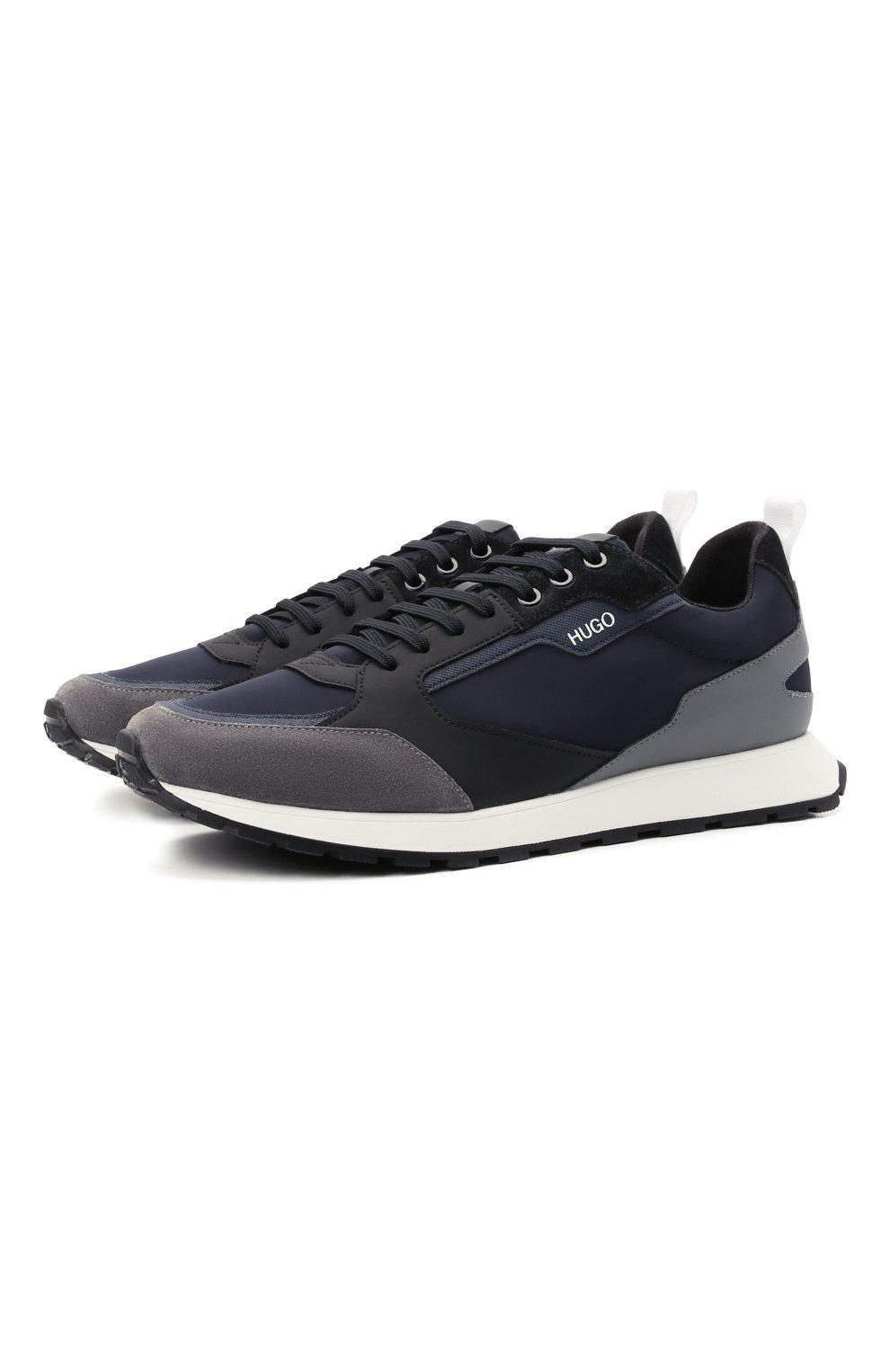Мужские комбинированные кроссовки HUGO синего цвета, арт. 50451740 | Фото 1 (Материал внешний: Текстиль; Подошва: Массивная)