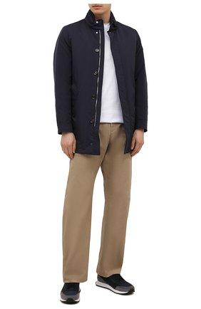 Мужские комбинированные кроссовки HUGO синего цвета, арт. 50451740 | Фото 2 (Материал внешний: Текстиль; Подошва: Массивная)