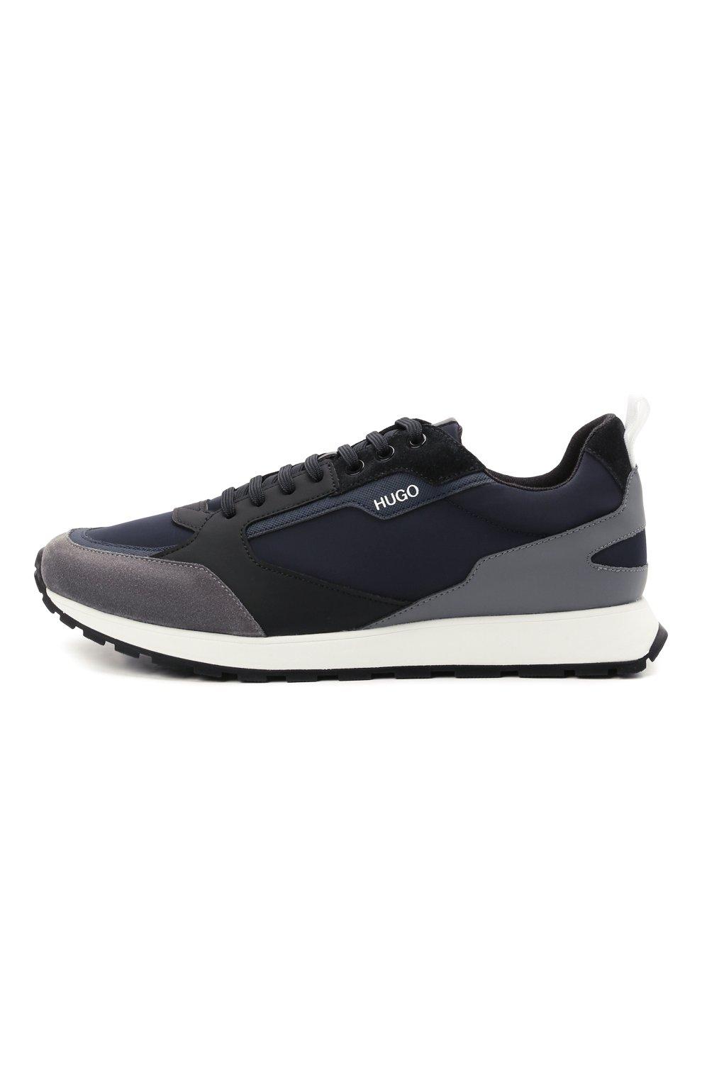 Мужские комбинированные кроссовки HUGO синего цвета, арт. 50451740 | Фото 3 (Материал внешний: Текстиль; Подошва: Массивная)