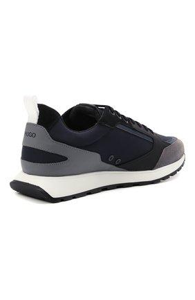Мужские комбинированные кроссовки HUGO синего цвета, арт. 50451740 | Фото 4 (Материал внешний: Текстиль; Подошва: Массивная)