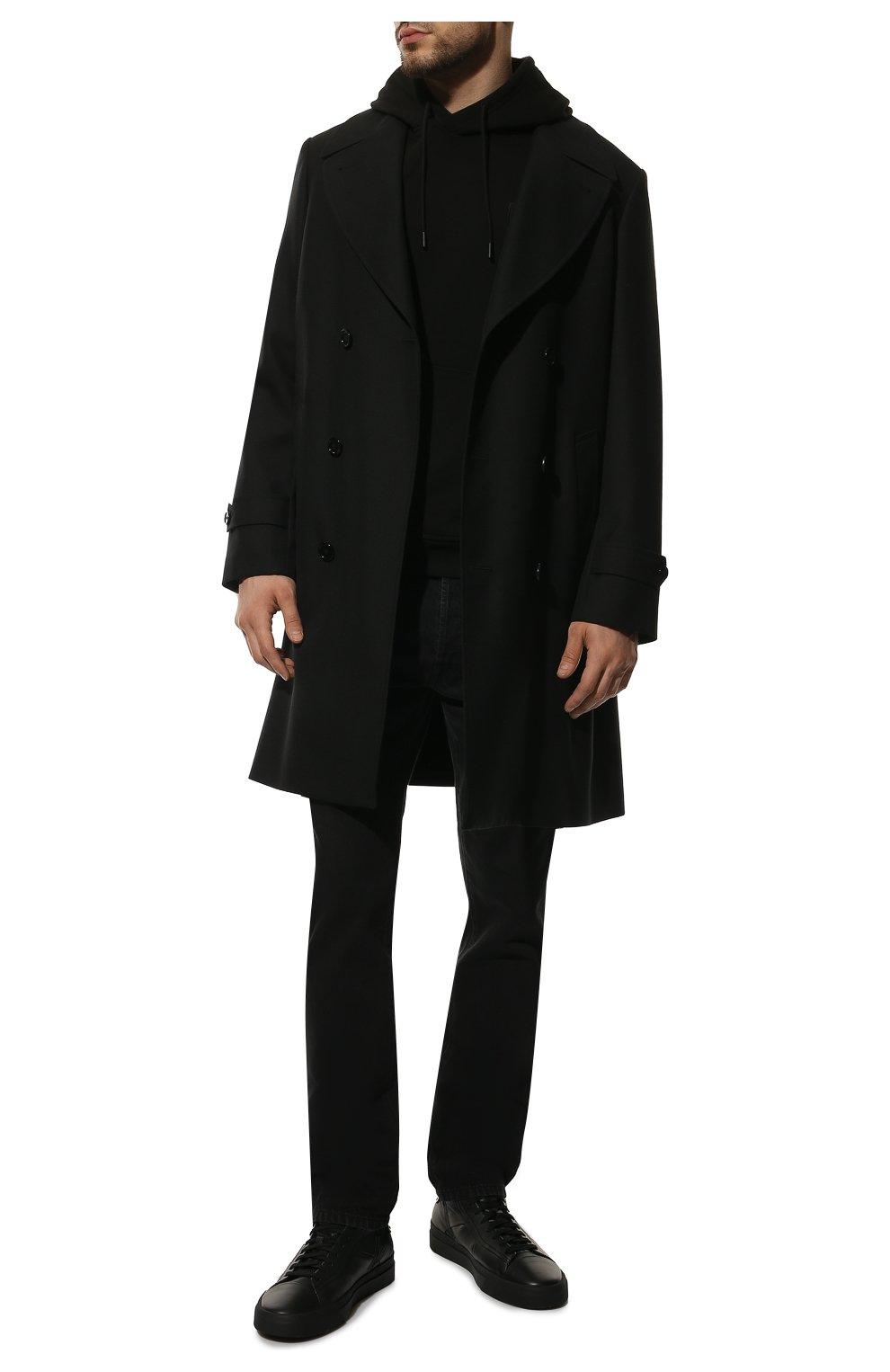 Мужские кожаные кеды SANTONI черного цвета, арт. MBGT21555NE0RNHRN01   Фото 2 (Материал внутренний: Натуральная кожа; Подошва: Массивная)