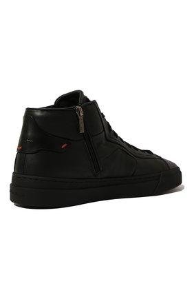 Мужские кожаные кеды SANTONI черного цвета, арт. MBGT21555NE0RNHRN01   Фото 5 (Материал внутренний: Натуральная кожа; Подошва: Массивная)