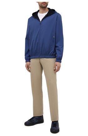 Мужские кожаные кеды SANTONI темно-синего цвета, арт. MBGT21556T0CRG0NU66 | Фото 2
