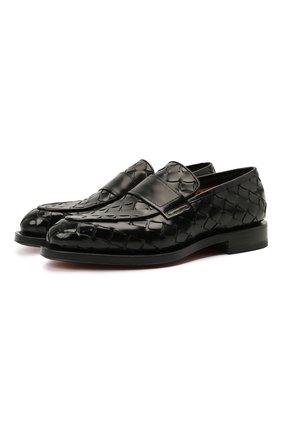 Мужские кожаные лоферы SANTONI черного цвета, арт. MCCG17687MD3HVVDN01 | Фото 1