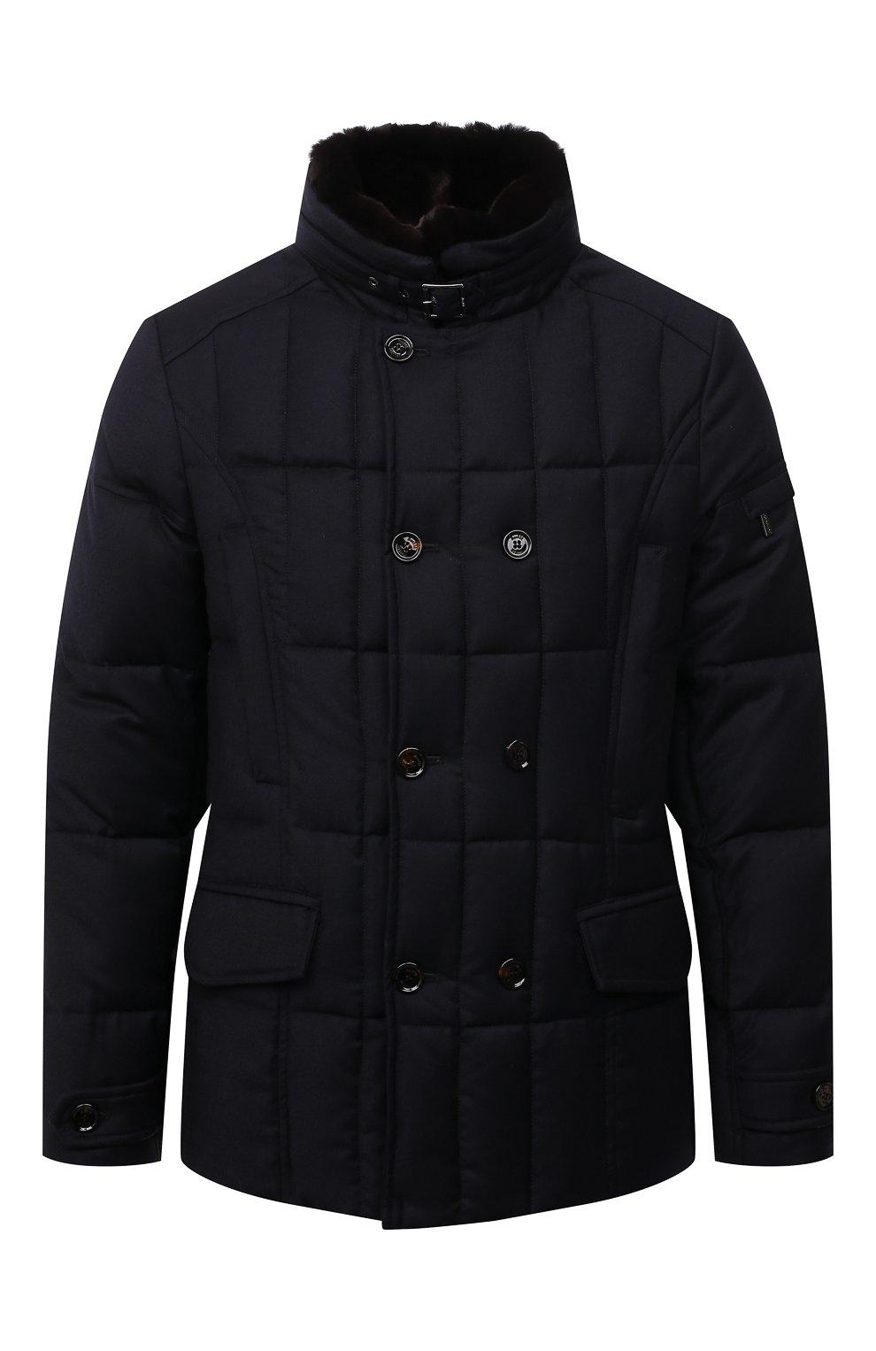 Мужская пуховая куртка с меховой отделкой siro-l MOORER синего цвета, арт. SIR0-L/M0UGI100276-TEPA217 | Фото 1 (Кросс-КТ: Куртка; Мужское Кросс-КТ: пуховик-короткий; Материал внешний: Шерсть; Рукава: Длинные; Материал подклада: Синтетический материал; Длина (верхняя одежда): Короткие; Материал утеплителя: Пух и перо; Стили: Кэжуэл)