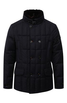 Мужская пуховая куртка с меховой отделкой siro-l MOORER синего цвета, арт. SIR0-L/M0UGI100276-TEPA217 | Фото 1 (Материал внешний: Шерсть; Материал подклада: Синтетический материал; Длина (верхняя одежда): Короткие; Рукава: Длинные; Мужское Кросс-КТ: пуховик-короткий; Кросс-КТ: Куртка; Стили: Кэжуэл; Материал утеплителя: Пух и перо)