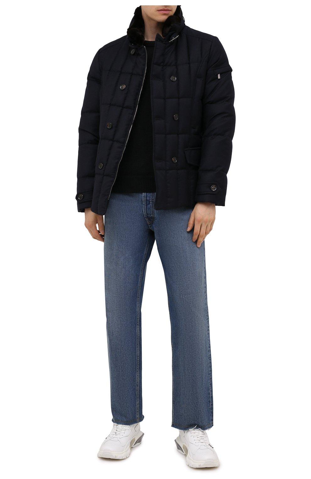 Мужская пуховая куртка с меховой отделкой siro-l MOORER синего цвета, арт. SIR0-L/M0UGI100276-TEPA217 | Фото 2 (Кросс-КТ: Куртка; Мужское Кросс-КТ: пуховик-короткий; Материал внешний: Шерсть; Рукава: Длинные; Материал подклада: Синтетический материал; Длина (верхняя одежда): Короткие; Материал утеплителя: Пух и перо; Стили: Кэжуэл)