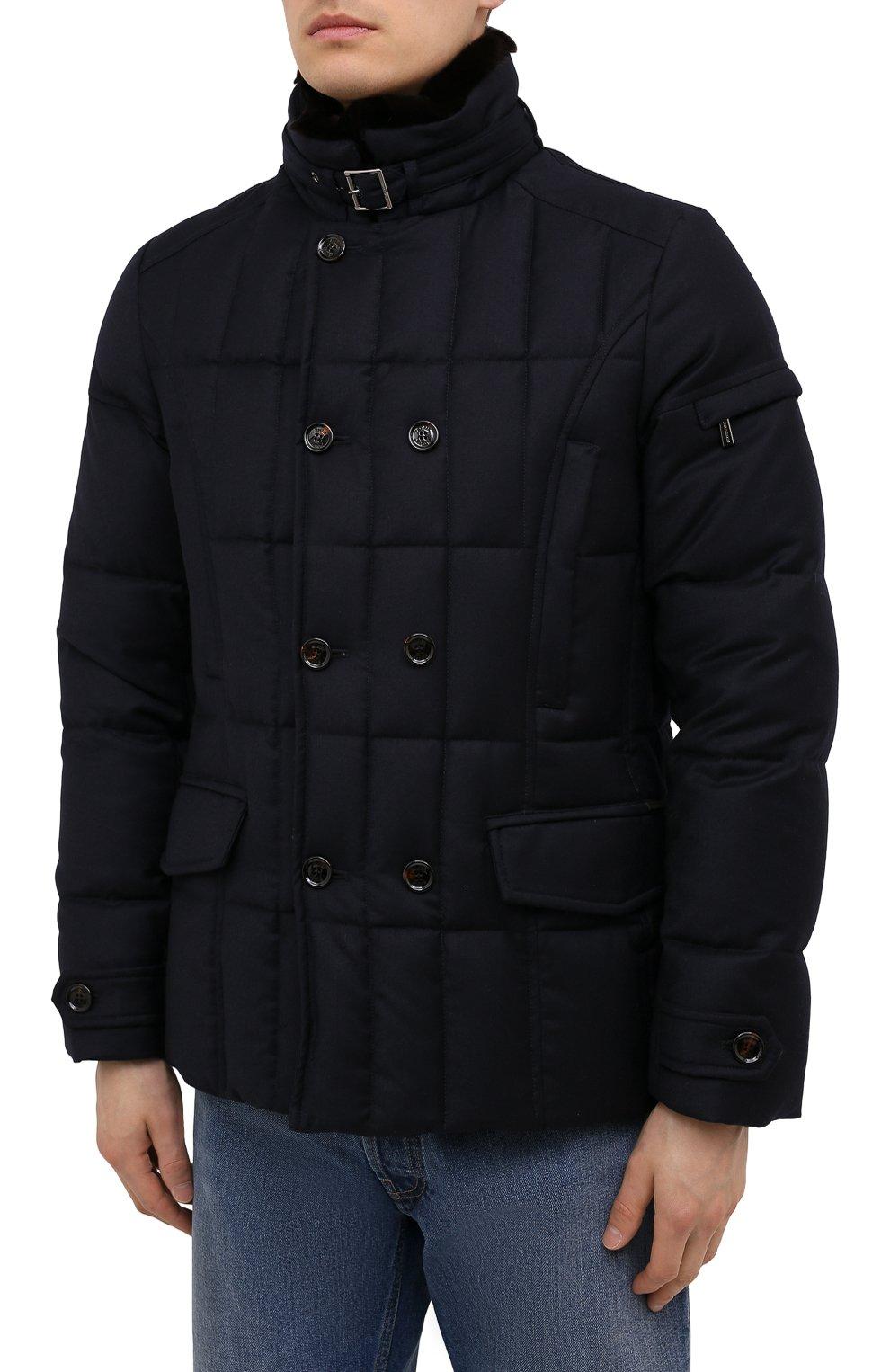 Мужская пуховая куртка с меховой отделкой siro-l MOORER синего цвета, арт. SIR0-L/M0UGI100276-TEPA217 | Фото 3 (Кросс-КТ: Куртка; Мужское Кросс-КТ: пуховик-короткий; Материал внешний: Шерсть; Рукава: Длинные; Материал подклада: Синтетический материал; Длина (верхняя одежда): Короткие; Материал утеплителя: Пух и перо; Стили: Кэжуэл)