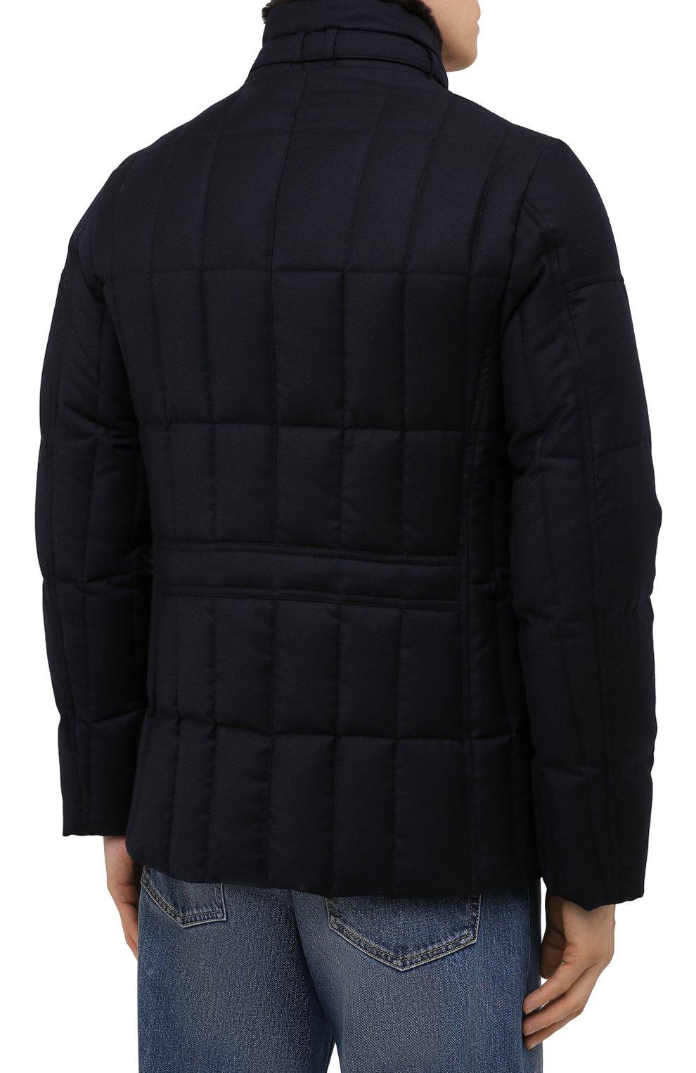 Мужская пуховая куртка с меховой отделкой siro-l MOORER синего цвета, арт. SIR0-L/M0UGI100276-TEPA217 | Фото 4 (Кросс-КТ: Куртка; Мужское Кросс-КТ: пуховик-короткий; Материал внешний: Шерсть; Рукава: Длинные; Материал подклада: Синтетический материал; Длина (верхняя одежда): Короткие; Материал утеплителя: Пух и перо; Стили: Кэжуэл)