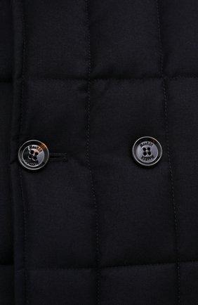 Мужская пуховая куртка с меховой отделкой siro-l MOORER синего цвета, арт. SIR0-L/M0UGI100276-TEPA217 | Фото 5 (Кросс-КТ: Куртка; Мужское Кросс-КТ: пуховик-короткий; Материал внешний: Шерсть; Рукава: Длинные; Материал подклада: Синтетический материал; Длина (верхняя одежда): Короткие; Материал утеплителя: Пух и перо; Стили: Кэжуэл)