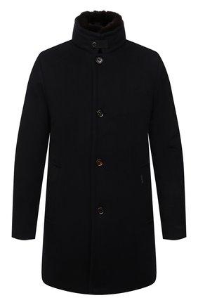 Мужской пальто из шерсти и кашемира bond-fur-le MOORER темно-синего цвета, арт. B0ND-FUR-LE/M0UG2100131-TEPA209 | Фото 1 (Материал подклада: Синтетический материал; Рукава: Длинные; Материал внешний: Шерсть; Стили: Классический; Мужское Кросс-КТ: пальто-верхняя одежда; Материал утеплителя: Пух и перо; Длина (верхняя одежда): До середины бедра)