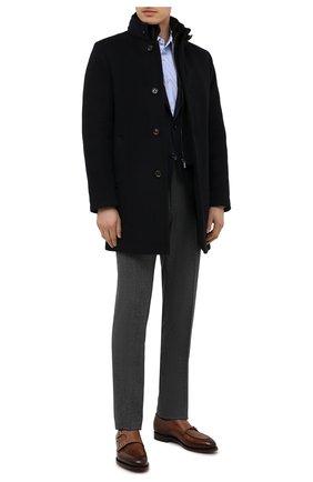 Мужской пальто из шерсти и кашемира bond-fur-le MOORER темно-синего цвета, арт. B0ND-FUR-LE/M0UG2100131-TEPA209 | Фото 2 (Материал подклада: Синтетический материал; Рукава: Длинные; Материал внешний: Шерсть; Стили: Классический; Мужское Кросс-КТ: пальто-верхняя одежда; Материал утеплителя: Пух и перо; Длина (верхняя одежда): До середины бедра)