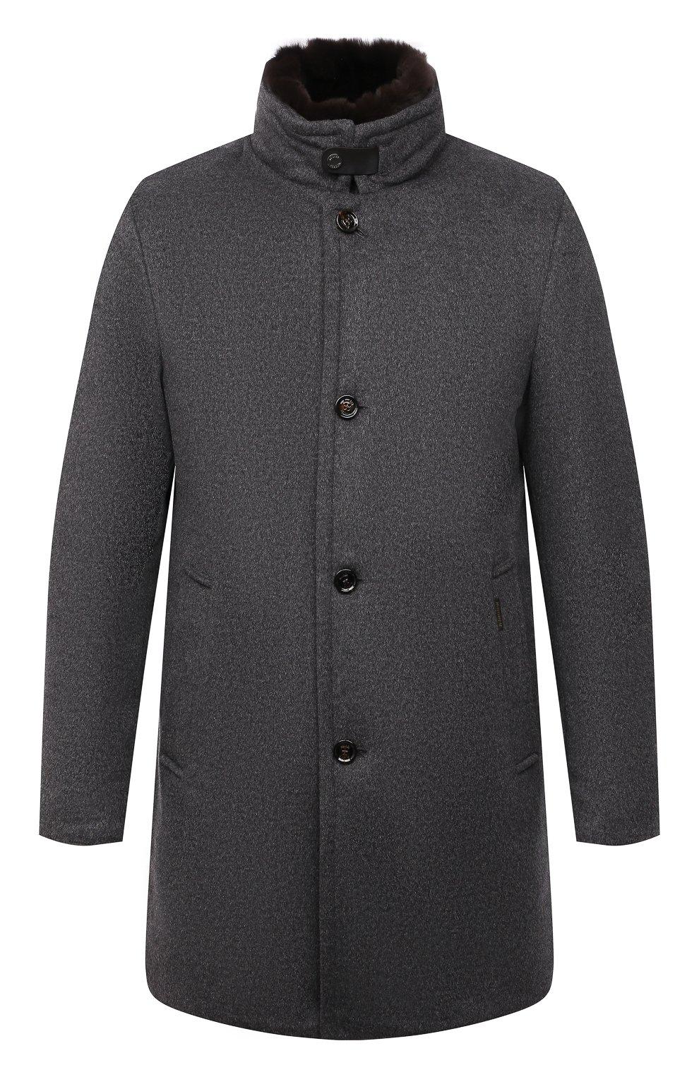Мужской пальто из шерсти и кашемира bond-fur-le MOORER светло-серого цвета, арт. B0ND-FUR-LE/M0UG2100131-TEPA209   Фото 1 (Материал внешний: Шерсть; Рукава: Длинные; Длина (верхняя одежда): До середины бедра; Стили: Классический; Материал подклада: Синтетический материал; Мужское Кросс-КТ: пальто-верхняя одежда; Материал утеплителя: Пух и перо)