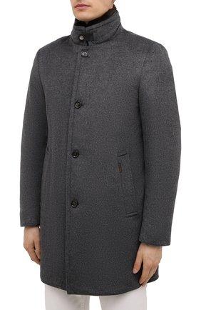 Мужской пальто из шерсти и кашемира bond-fur-le MOORER светло-серого цвета, арт. B0ND-FUR-LE/M0UG2100131-TEPA209   Фото 3 (Материал внешний: Шерсть; Рукава: Длинные; Длина (верхняя одежда): До середины бедра; Стили: Классический; Материал подклада: Синтетический материал; Мужское Кросс-КТ: пальто-верхняя одежда; Материал утеплителя: Пух и перо)
