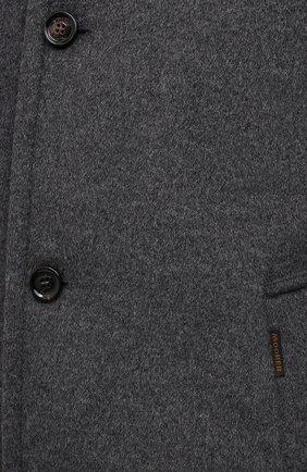 Мужской пальто из шерсти и кашемира bond-fur-le MOORER светло-серого цвета, арт. B0ND-FUR-LE/M0UG2100131-TEPA209   Фото 5 (Материал внешний: Шерсть; Рукава: Длинные; Длина (верхняя одежда): До середины бедра; Стили: Классический; Материал подклада: Синтетический материал; Мужское Кросс-КТ: пальто-верхняя одежда; Материал утеплителя: Пух и перо)