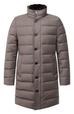 Мужская пуховик из шерсти и кашемира alfieri-fur-l MOORER бежевого цвета, арт. ALFIERI-FUR-L/M0UGI100104-TEPA217 | Фото 1 (Рукава: Длинные; Материал внешний: Шерсть; Кросс-КТ: Куртка; Мужское Кросс-КТ: пуховик-короткий; Стили: Кэжуэл; Длина (верхняя одежда): До середины бедра; Материал утеплителя: Пух и перо)