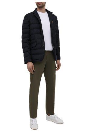Мужская пуховая куртка из шерсти и кашемира zayn-l MOORER темно-синего цвета, арт. ZAYN-L/M0UGI100307-TEPA217 | Фото 2 (Материал внешний: Шерсть; Длина (верхняя одежда): Короткие; Кросс-КТ: Куртка; Материал подклада: Синтетический материал; Мужское Кросс-КТ: пуховик-короткий; Стили: Кэжуэл; Рукава: Длинные; Материал утеплителя: Пух и перо)