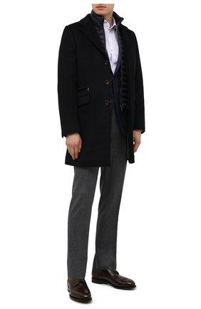 Мужской пальто из шерсти и кашемира harris-le MOORER темно-синего цвета, арт. HARRIS-LE/M0UGI100208-TEPA209 | Фото 2 (Материал внешний: Шерсть; Рукава: Длинные; Материал подклада: Синтетический материал; Стили: Классический; Мужское Кросс-КТ: пальто-верхняя одежда)