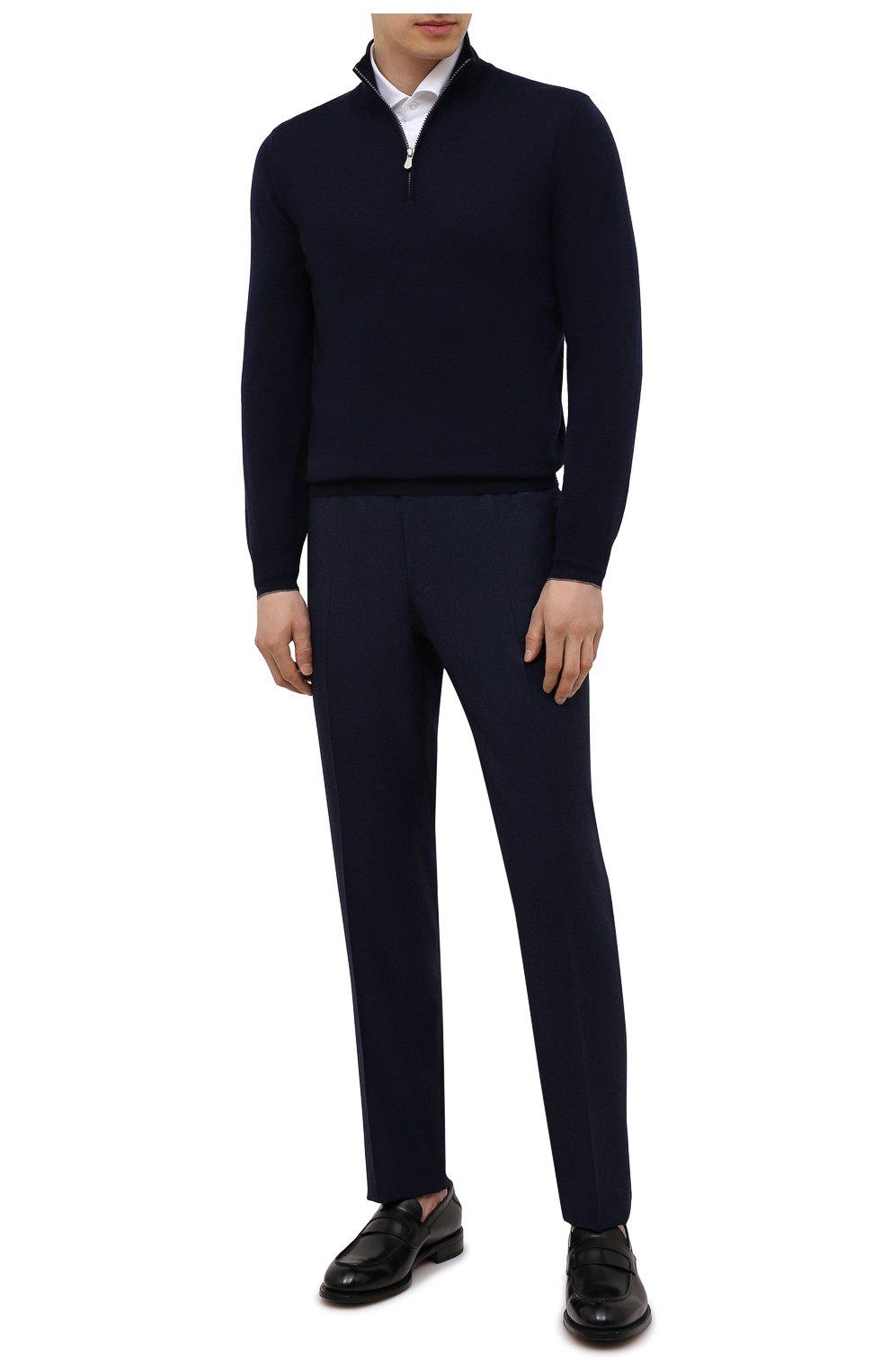 Мужские шерстяные брюки CANALI темно-синего цвета, арт. 71019/BF01268   Фото 2